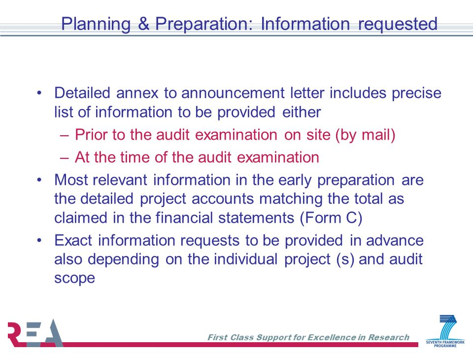 Planning & Preparation: Information requested