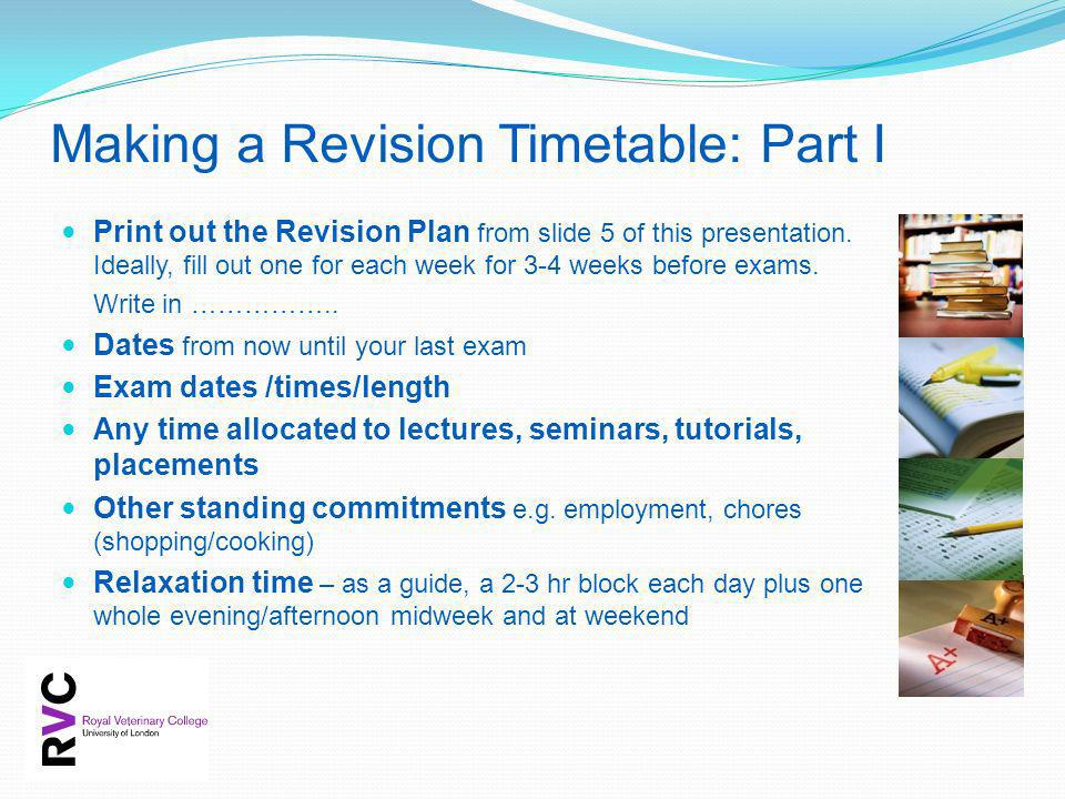 Making a Revision Timetable: Part I