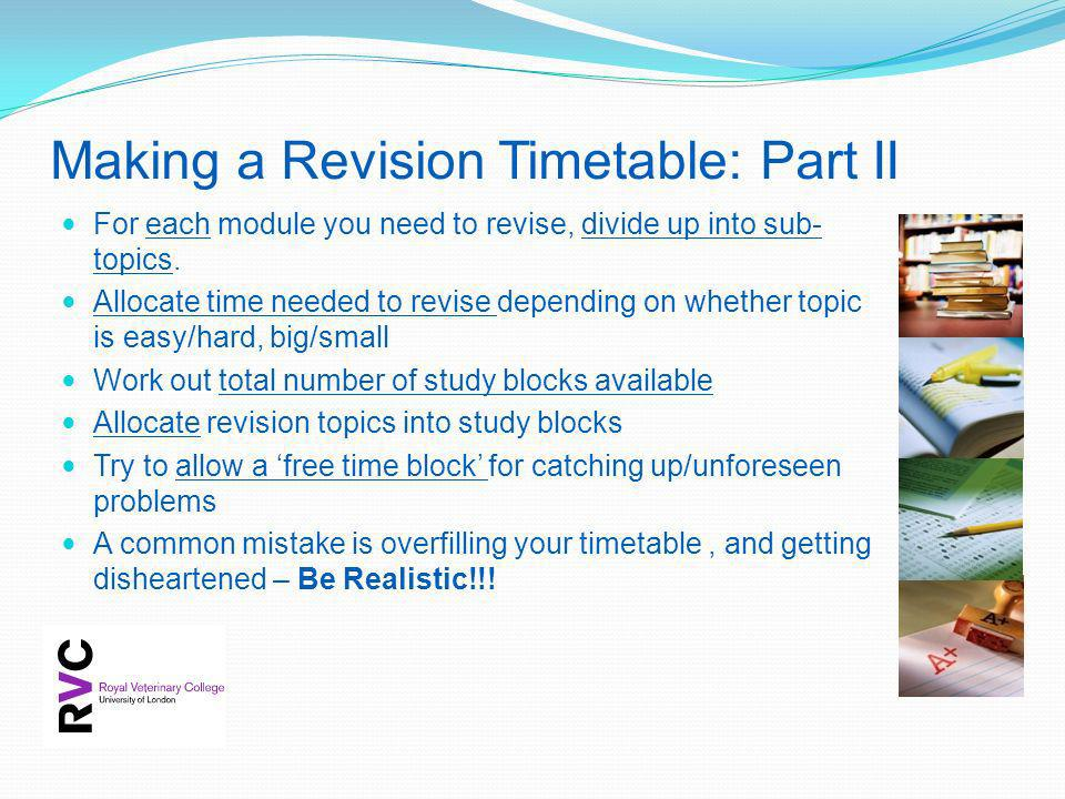 Making a Revision Timetable: Part II