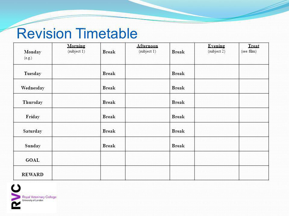 Revision Timetable Monday (e.g.) Morning Break Afternoon Evening Treat