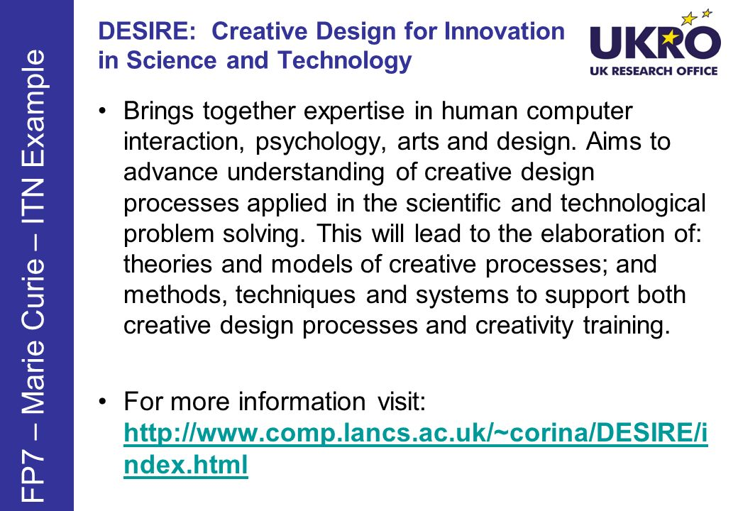 DESIRE: Creative Design for Innovation in Science and Technology