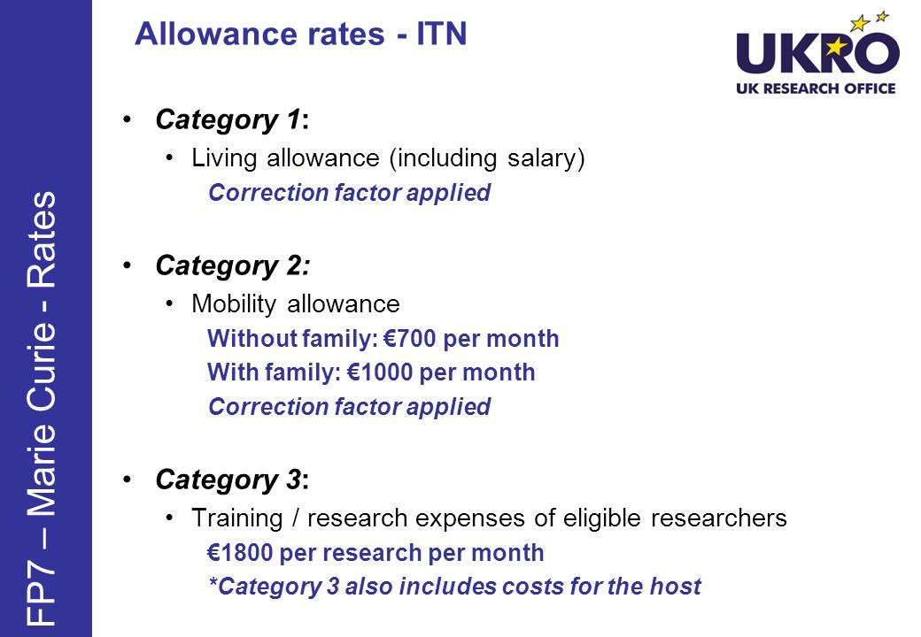 FP7 – Marie Curie - Rates Allowance rates - ITN Category 1: