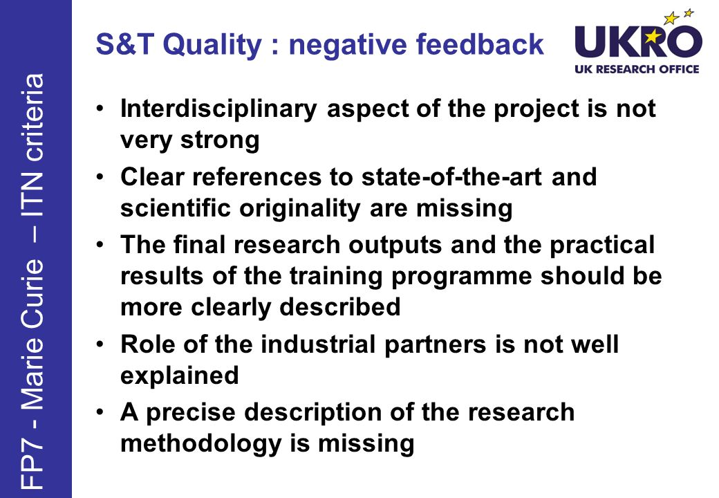 S&T Quality : negative feedback