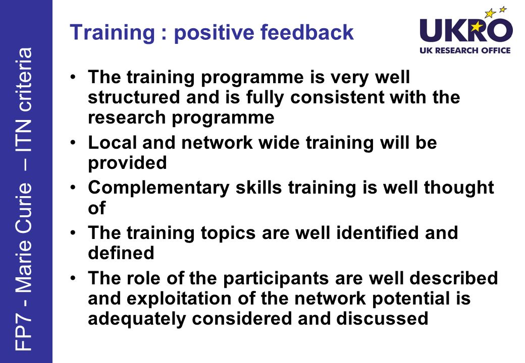 Training : positive feedback