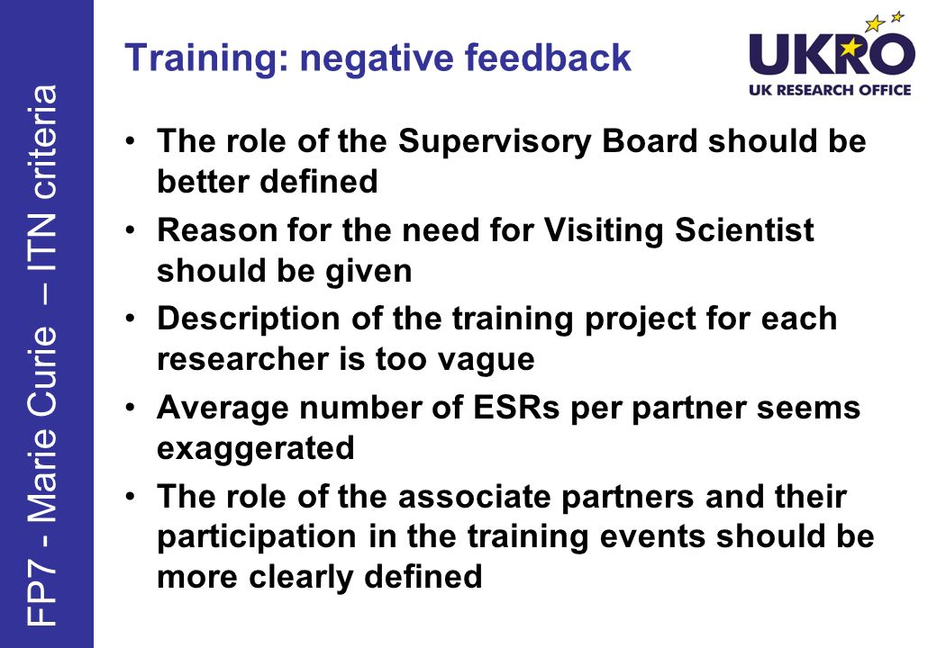 Training: negative feedback