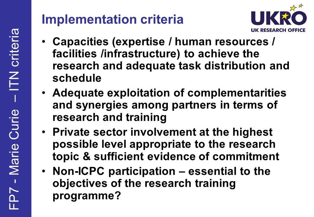 Implementation criteria