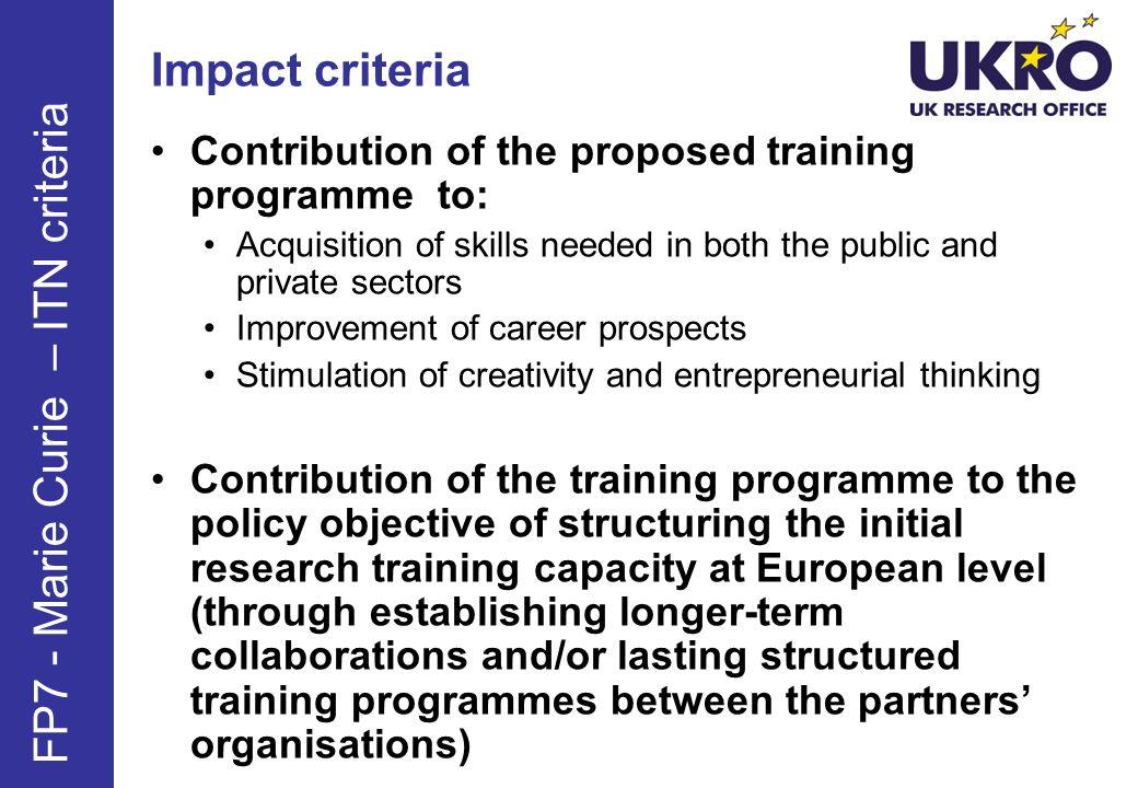 FP7 - Marie Curie – ITN criteria