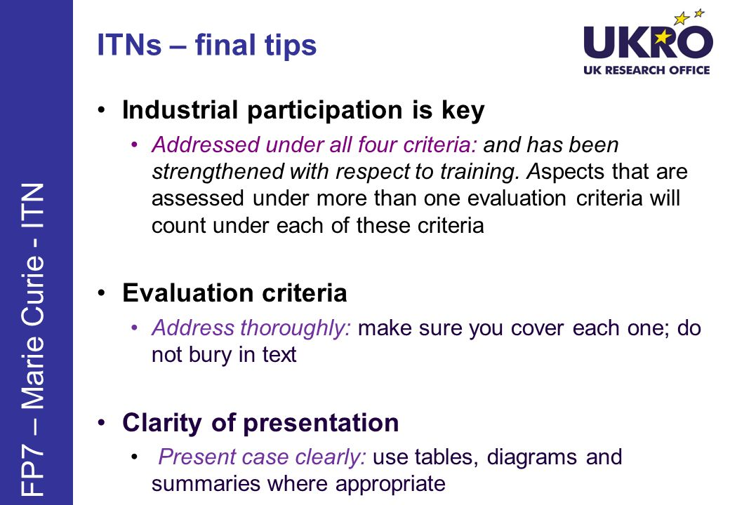 ITNs – final tips FP7 – Marie Curie - ITN