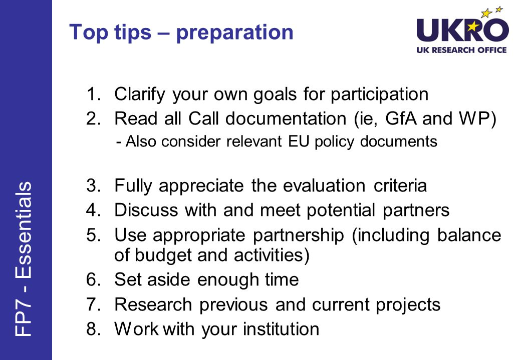 Top tips – preparation FP7 - Essentials