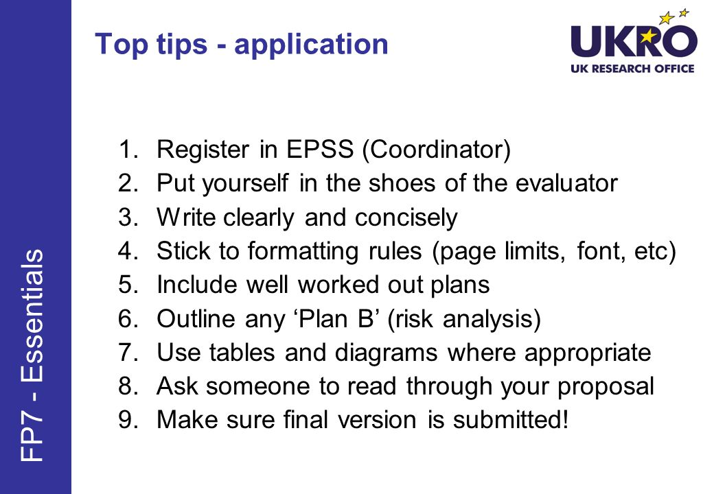 Top tips - application FP7 - Essentials Register in EPSS (Coordinator)