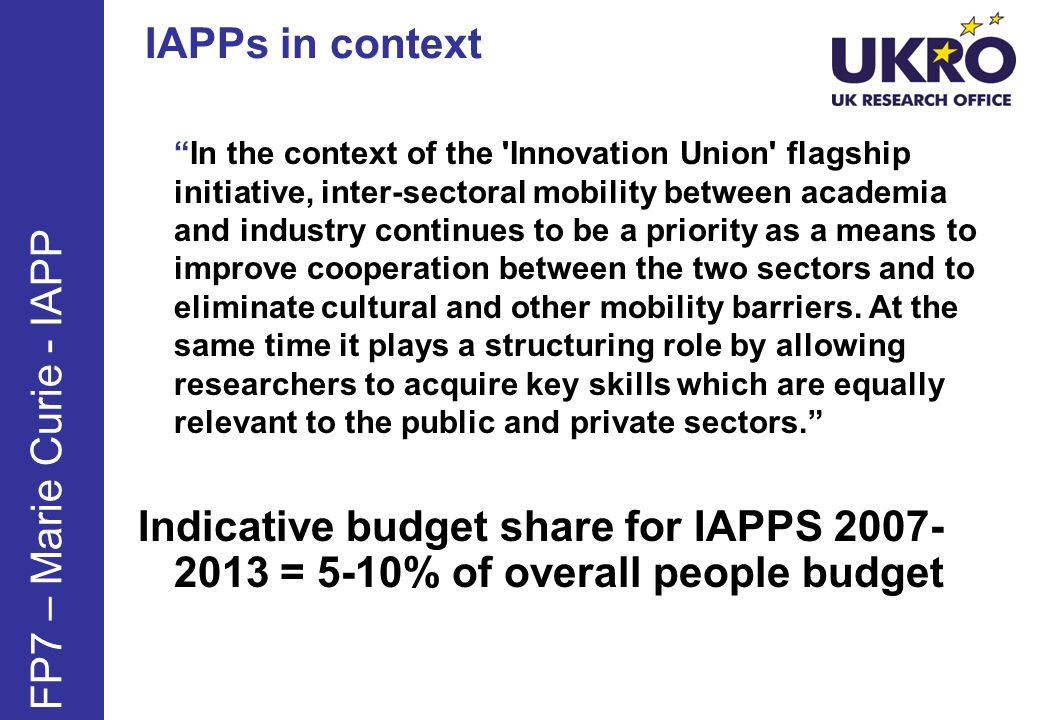 IAPPs in context FP7 – Marie Curie - IAPP