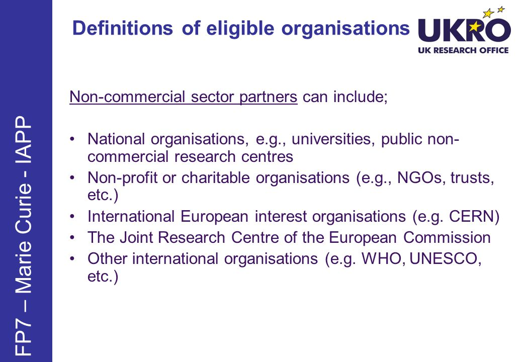 FP7 – Marie Curie - IAPP Definitions of eligible organisations