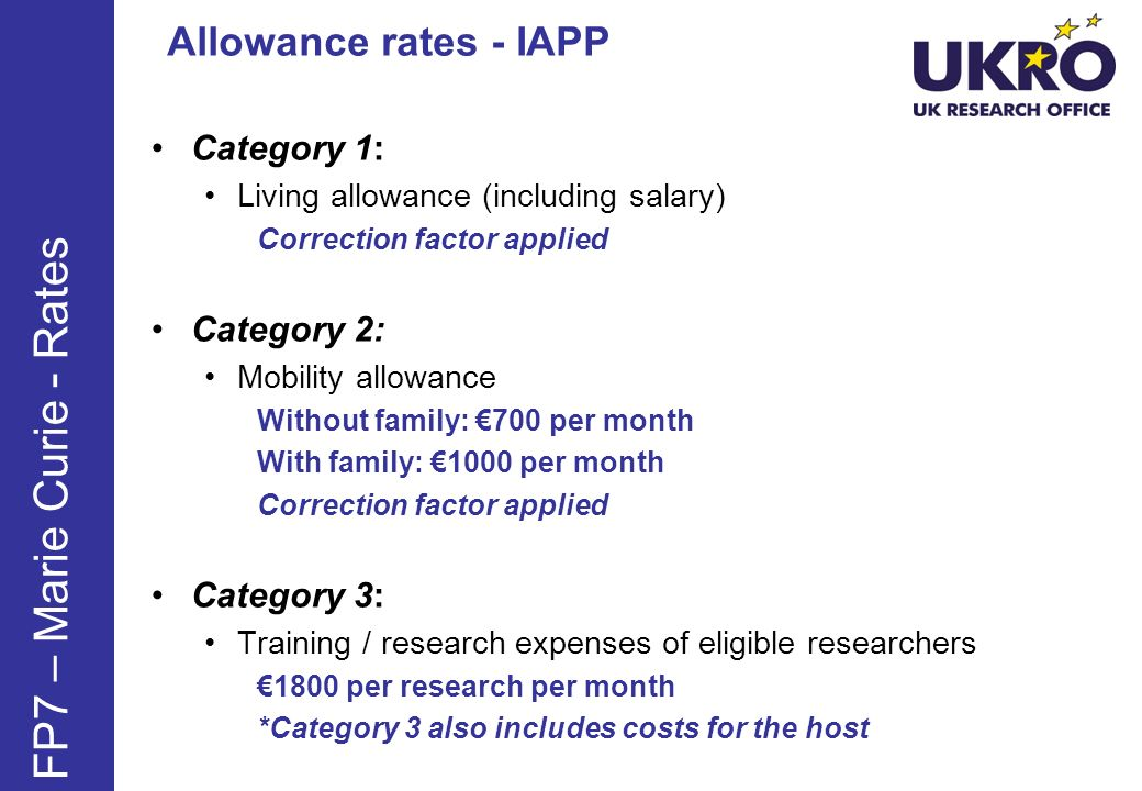 FP7 – Marie Curie - Rates Allowance rates - IAPP Category 1: