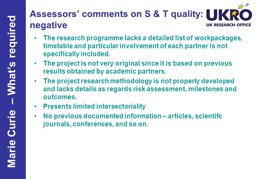 Assessors' comments on S & T quality: negative