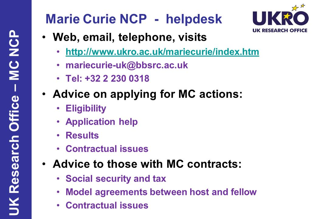 Marie Curie NCP - helpdesk