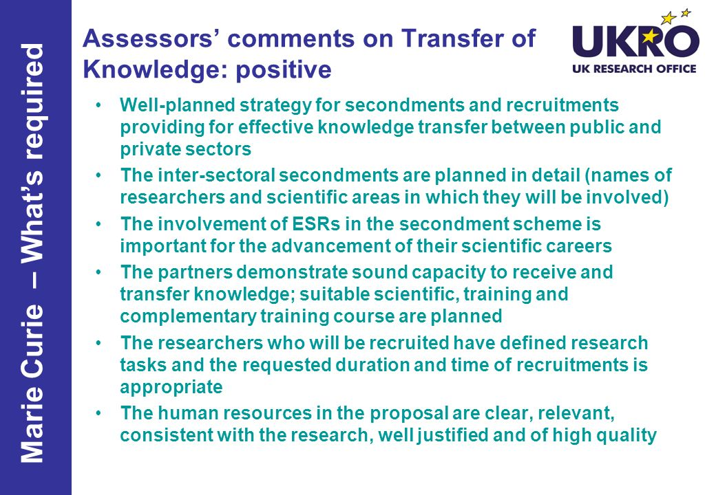 Assessors' comments on Transfer of Knowledge: positive