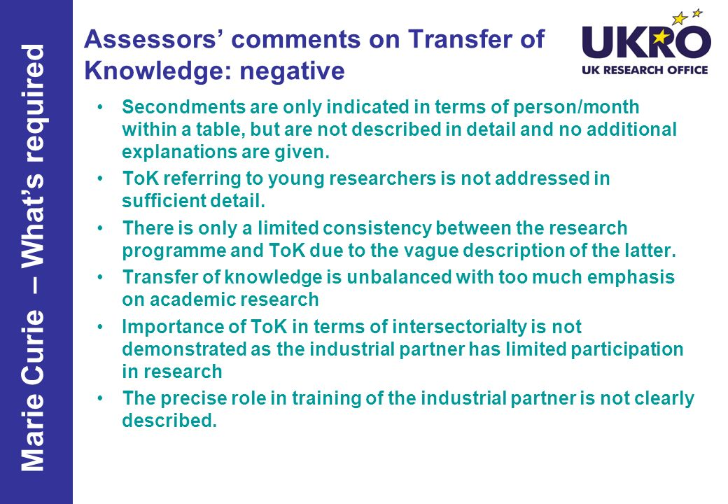 Assessors' comments on Transfer of Knowledge: negative