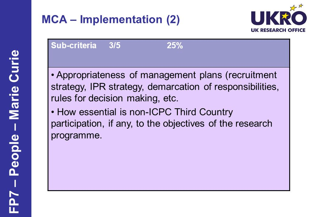 MCA – Implementation (2)