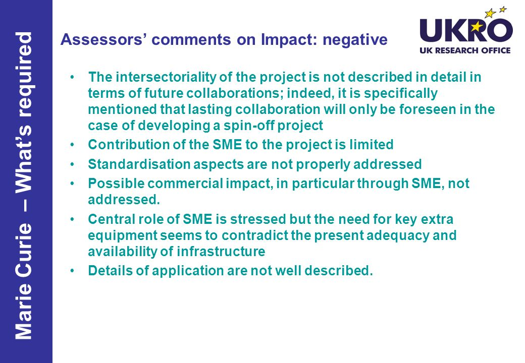 Assessors' comments on Impact: negative