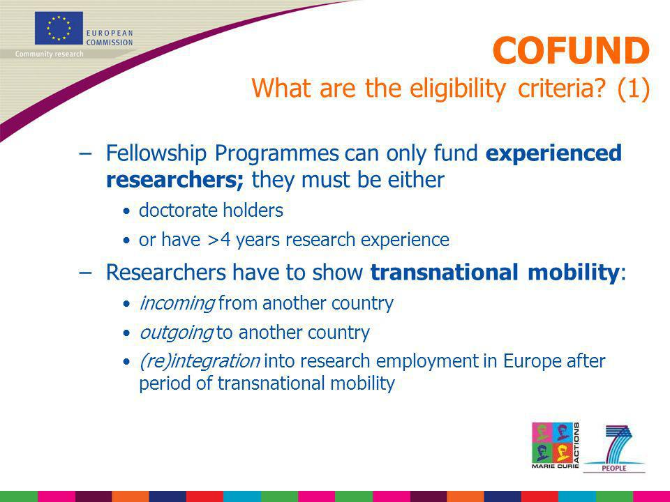 COFUND What are the eligibility criteria (1)