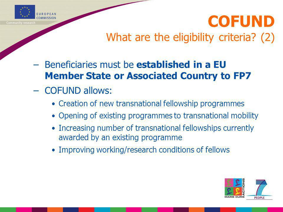 COFUND What are the eligibility criteria (2)