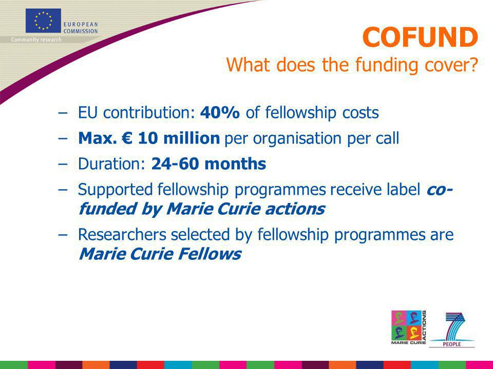 COFUND What does the funding cover