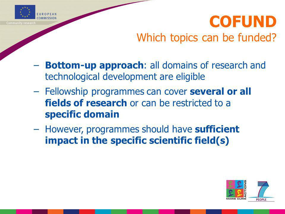 COFUND Which topics can be funded