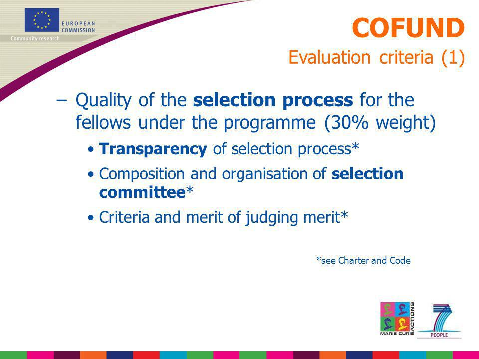 COFUND Evaluation criteria (1)