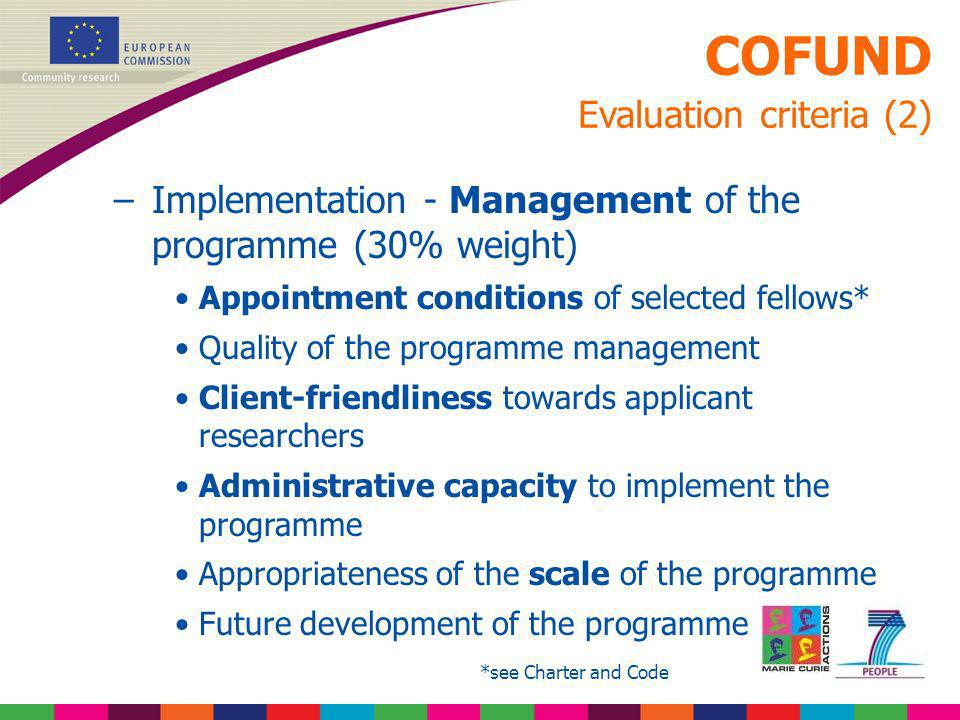 COFUND Evaluation criteria (2)