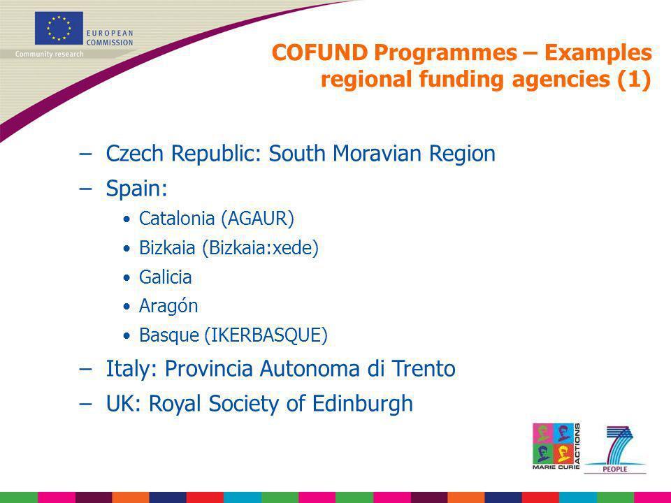 COFUND Programmes – Examples regional funding agencies (1)