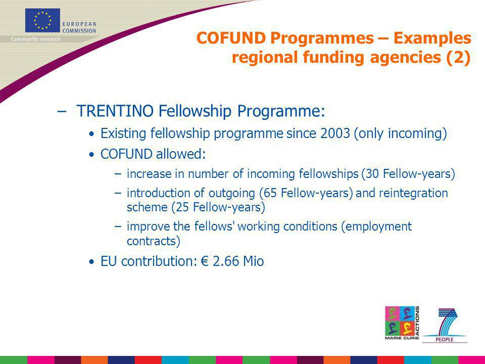 COFUND Programmes – Examples regional funding agencies (2)