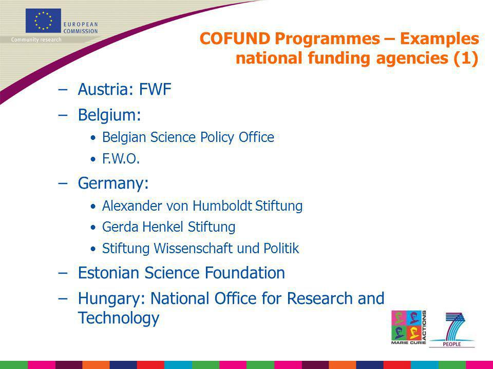 COFUND Programmes – Examples national funding agencies (1)