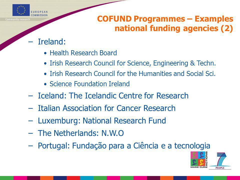 COFUND Programmes – Examples national funding agencies (2)