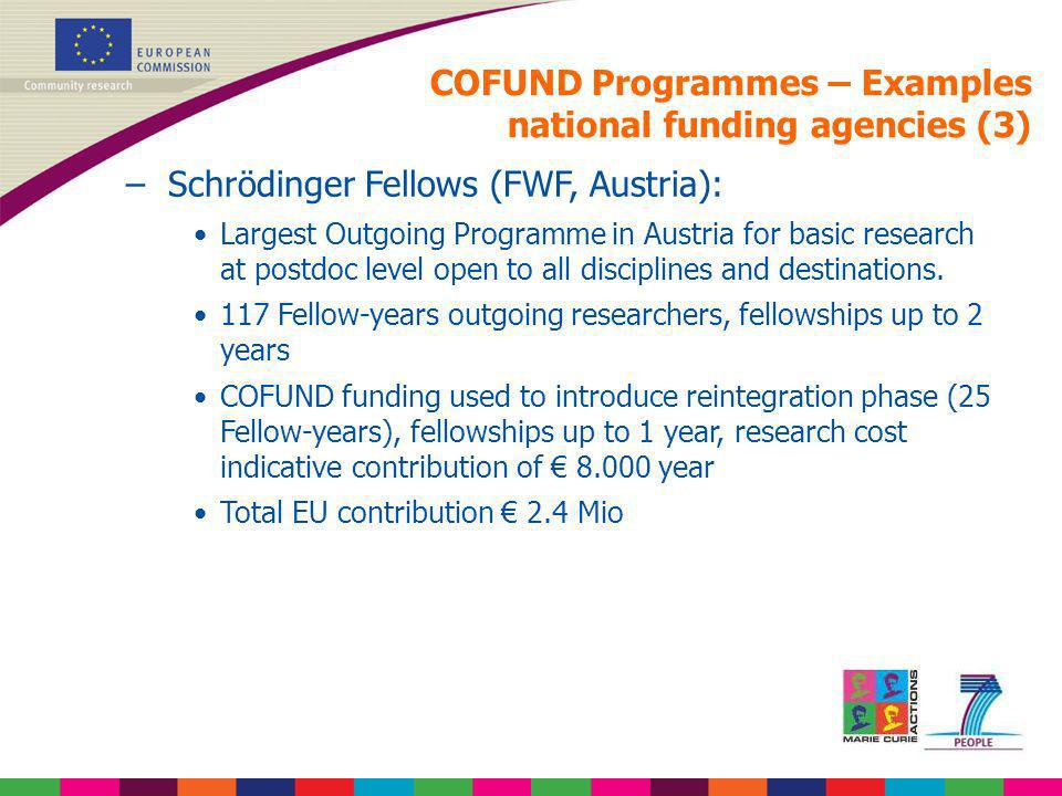 COFUND Programmes – Examples national funding agencies (3)