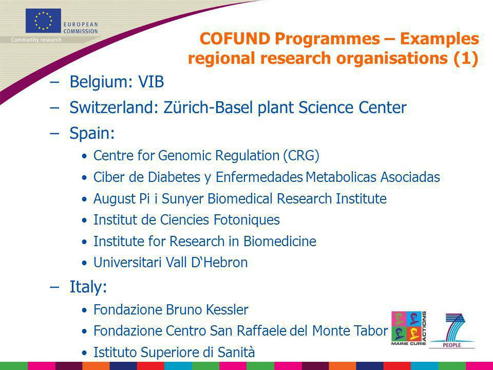 COFUND Programmes – Examples regional research organisations (1)