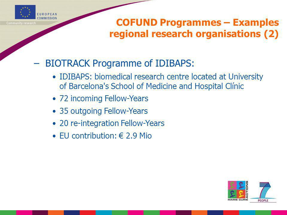 COFUND Programmes – Examples regional research organisations (2)