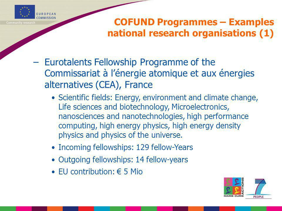 COFUND Programmes – Examples national research organisations (1)