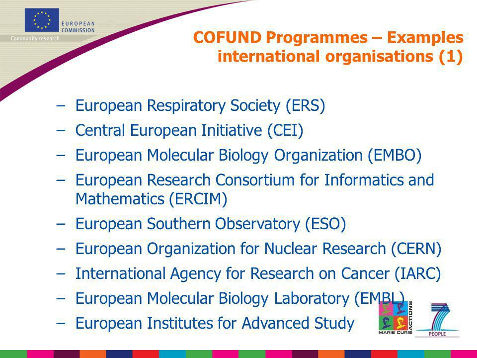 COFUND Programmes – Examples international organisations (1)