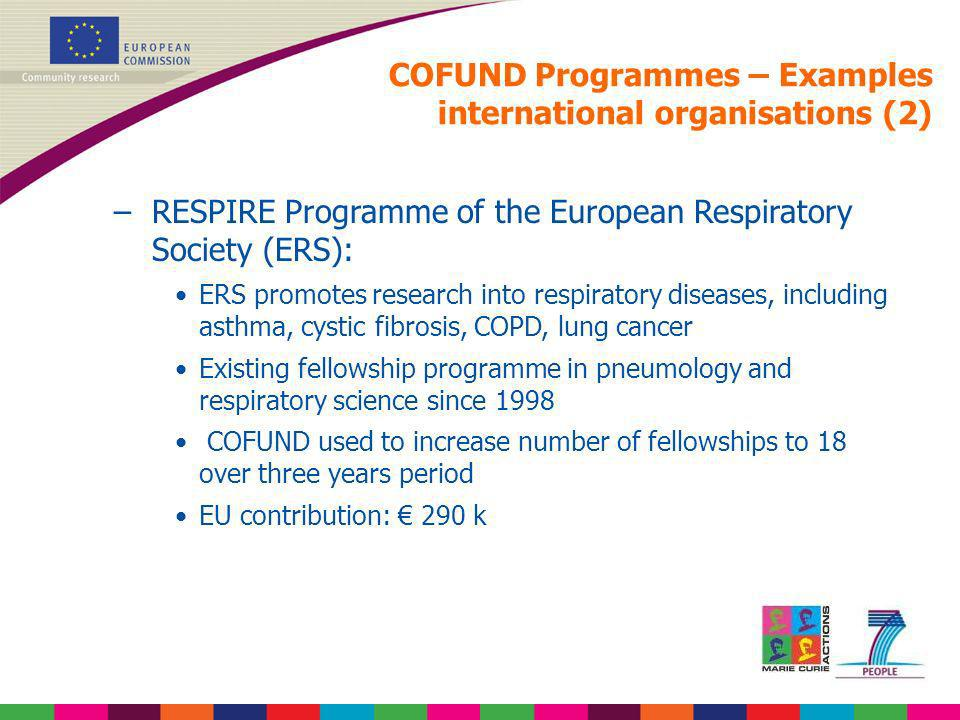 COFUND Programmes – Examples international organisations (2)