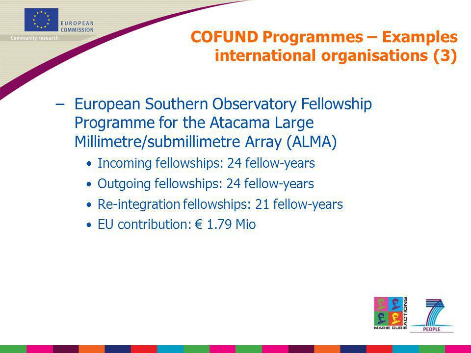 COFUND Programmes – Examples international organisations (3)