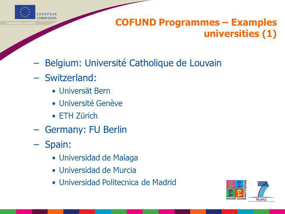 COFUND Programmes – Examples universities (1)
