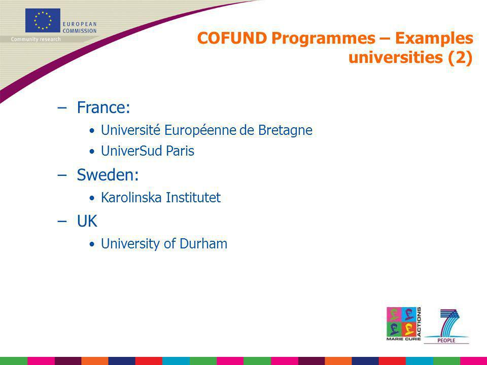 COFUND Programmes – Examples universities (2)