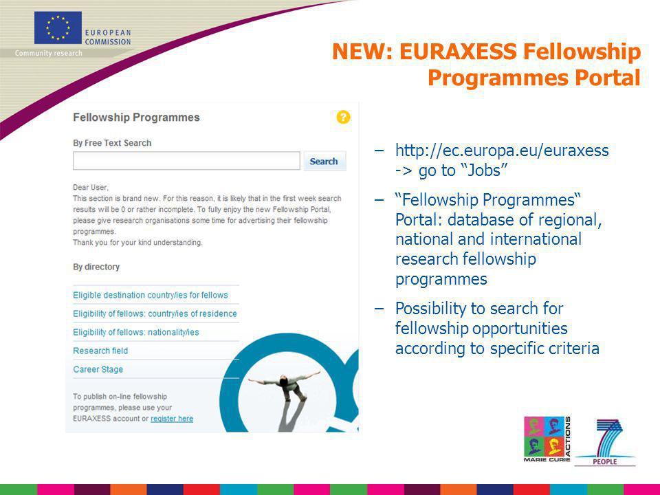 NEW: EURAXESS Fellowship Programmes Portal
