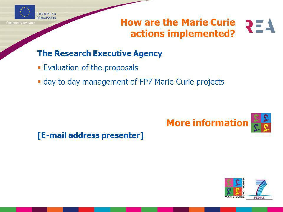 How are the Marie Curie actions implemented