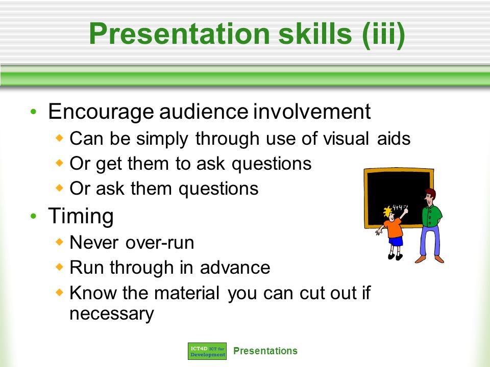 Presentation skills (iii)
