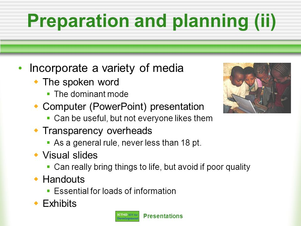 Preparation and planning (ii)
