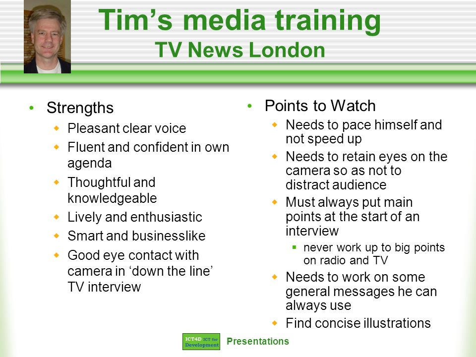 Tim's media training TV News London