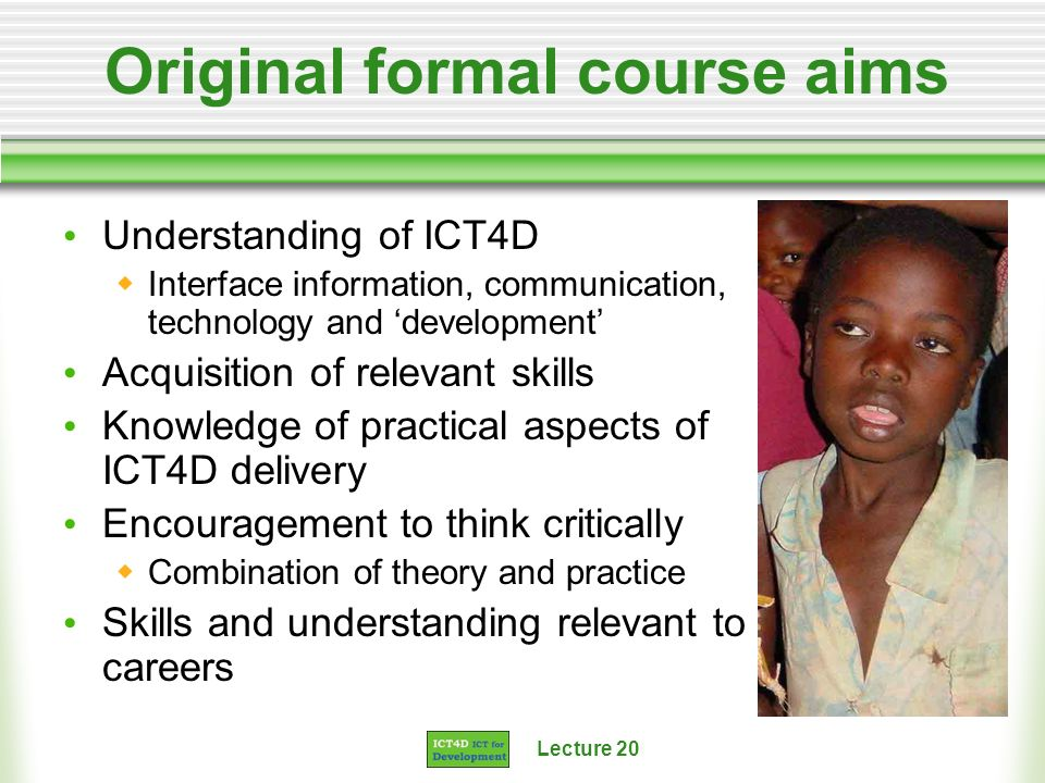 Original formal course aims