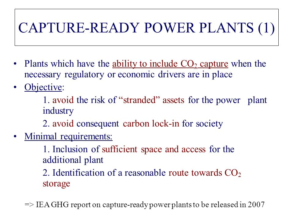 CAPTURE-READY POWER PLANTS (1)