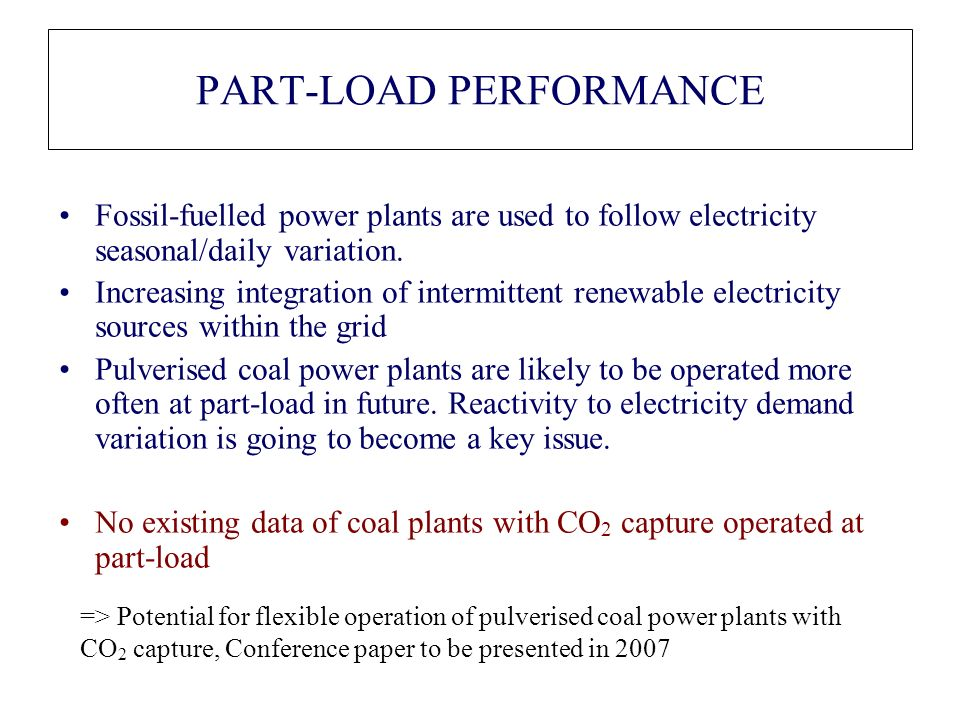 PART-LOAD PERFORMANCE